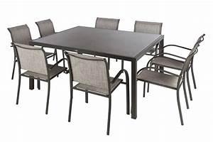 Bache Table De Jardin : table carr e piazza verre taupe mastic 8p alliances piscines ~ Teatrodelosmanantiales.com Idées de Décoration