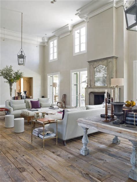 Taupe Sofa Living Room Ideas by Living Room With Rustic Wood Floors Like The Table Behind