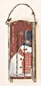 1000+ images about Handpainted Snowman Wooden Sleigh on