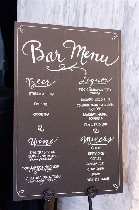 Elegant Chalkboard Bar Menu