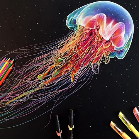 finished   glowing jellyfish drawing today