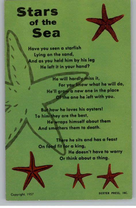 starfish poem fish crafts preschool summer school