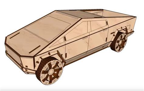 laser cut plywood tesla cybertruck template  vector