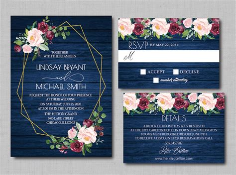 Navy Blue Watercolor Burgundy Floral Geometric Wedding
