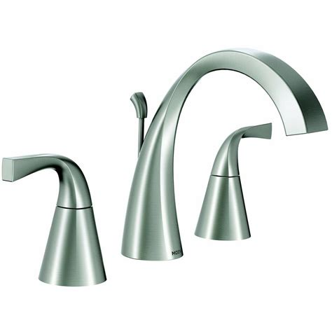 moen bathroom sink faucets moen oxby brushed nickel 2 handle widespread watersense