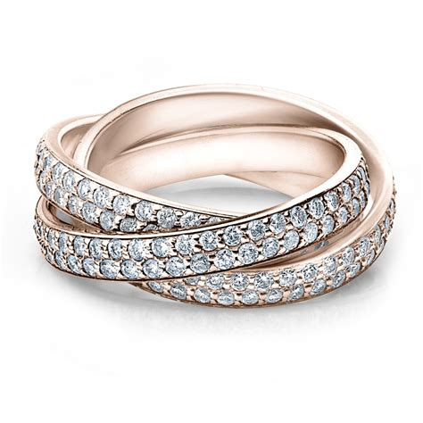 diamond rolling eternity band wedding ring rose gold 3 carat pave ebay