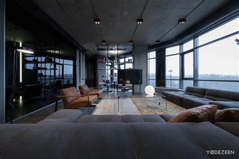 apartment  concrete dark surfaces  dramatic lighting