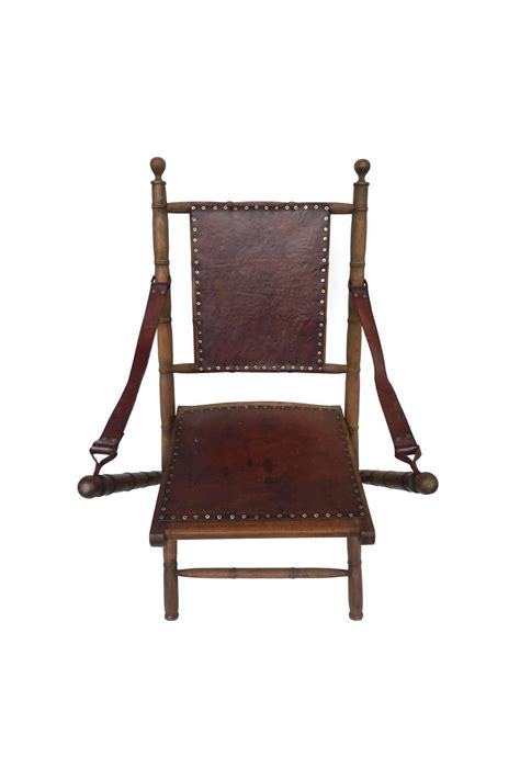 20th century leather and ash folding chairs pair for sale