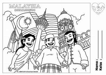 Merdeka Malaysia Colouring Coloring Pages National Flag