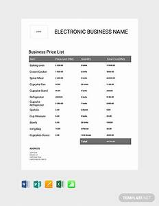 Free Business Price List Template Word Excel Apple