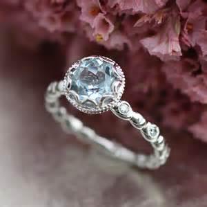 aquamarine wedding rings floral aquamarine engagement ring in 14k white gold