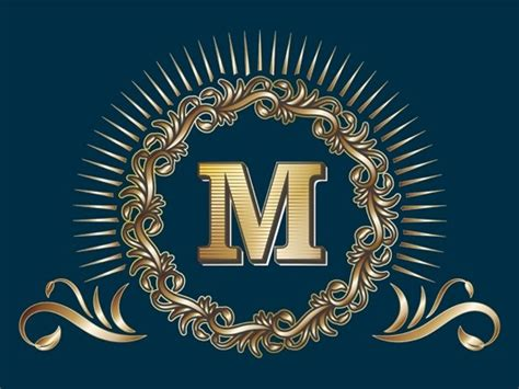 vector golden  monogram logo