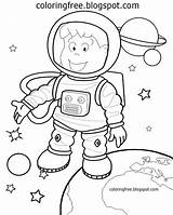 Solar Coloring Drawing Space Astronaut Cartoon Preschool Planets Simple Printable Planet Spaceship Sketch Spaceman Moon Learning Learn sketch template