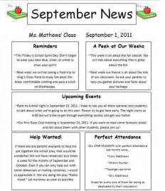 Sample Teacher Newsletters to Parents