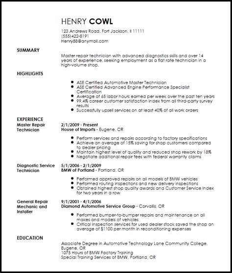 Performance Resume Template by Free Professional Mechanic Resume Template Resume Now
