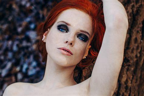 Wallpaper Face Women Redhead Long Hair Blue Eyes
