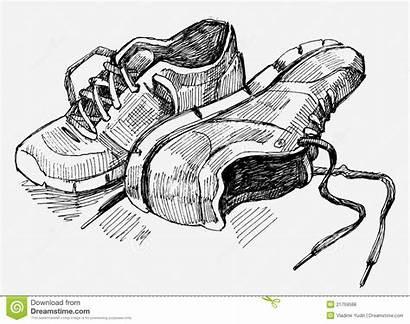Turnschuhe Gezeichnete Drawn Sneakers Scarpe Abbildung Illustrazione