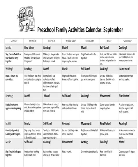 8 preschool calendar templates sample examples free 607 | Preschool Activity1