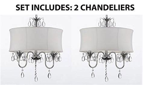 set   white drum shade crystal ceiling chandelier