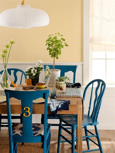 dining chairs painted different colors