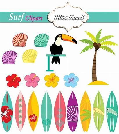 Clipart Summer Surfboards Surf Clip Hawaii Orange