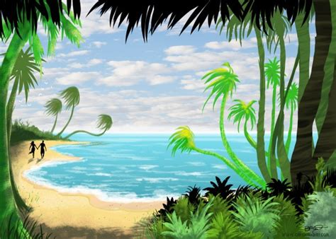 Cartoon Island Paradise Painting ? Cartoon