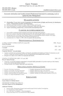 Resume Summary For Security Guard Position by Security Officer Resume Exle Sle Security Guard Resumes