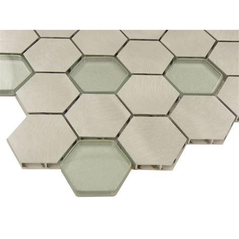 glass hexagon tile hexagon silver glass and metal tile ft ab123