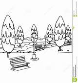 Park Coloring Trees Bench Benches Pages Tree Hand Drawn Designlooter Sketch Drawings 1218 7kb 1300px Template sketch template
