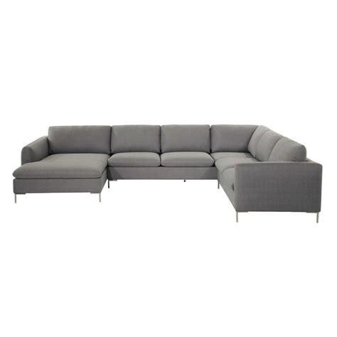 canapé d angle gris tissu canapé d 39 angle 8 places en tissu gris clair city maisons