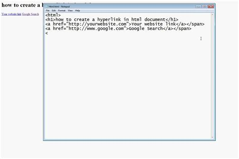 How Add Hyperlink Html Document Using Notepad