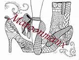 Ballet Coloring Adult Pumps Boots Adults Colouring Shoe Pencils sketch template