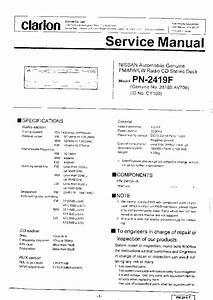 Clarion Av700 Pn2419f Nissan Service Manual Download