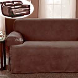 reclining t cushion sofa loveseat slipcover suede chocolate recliner reclining sofa slipcover in