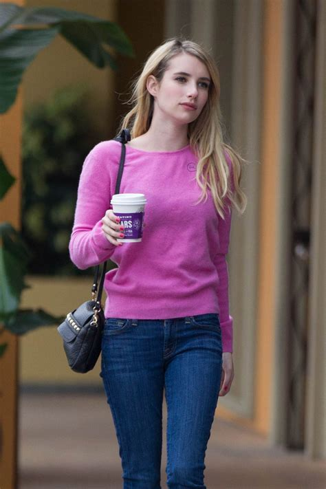 Emma Roberts Street Style   Grabs a Coffee To Go in Los