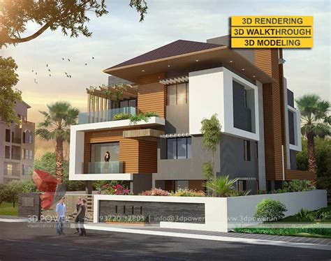 stunning 3d ultra modern villa day rendering and elevation design by 3d power threed power