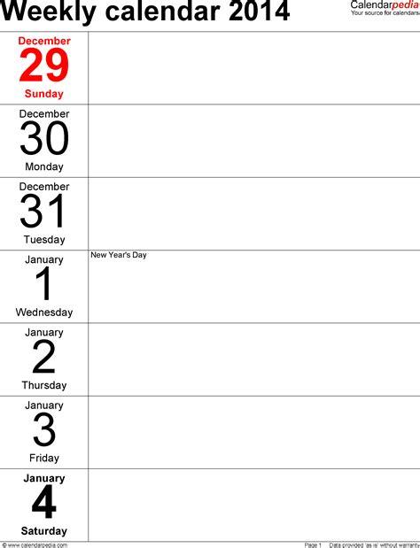 weekly calendar   excel   printable templates
