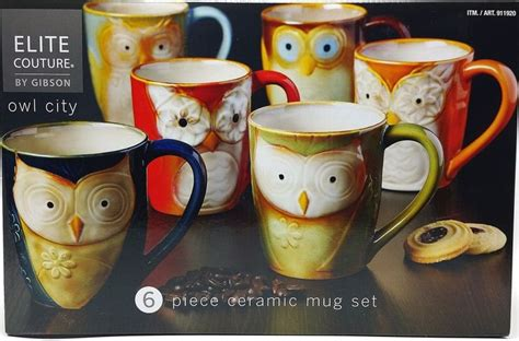 Choose from a variety of colors and unique themes. Owl Ceramic Mug Set of 6 Coffee Tea 17oz Artisan Handcrafted Glazed Fedex Fast #Gibson | Owl mug ...