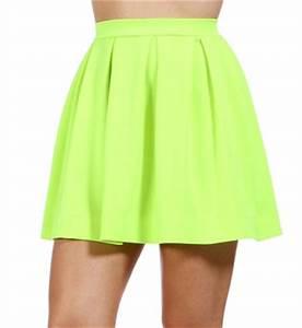 Neon Yellow Back Zipper Skirt