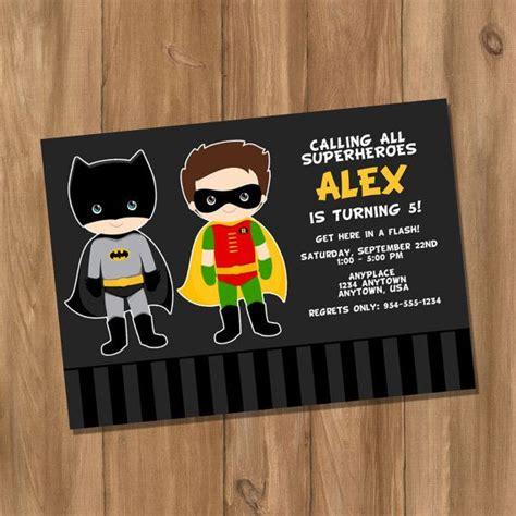 batman and robin inspired birthday invitation with digital diy on