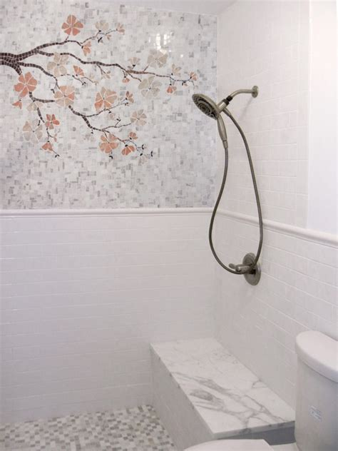 Japanese Cherry Blossom Bathroom Decor by White Subway Tile In Shower Design Ideas
