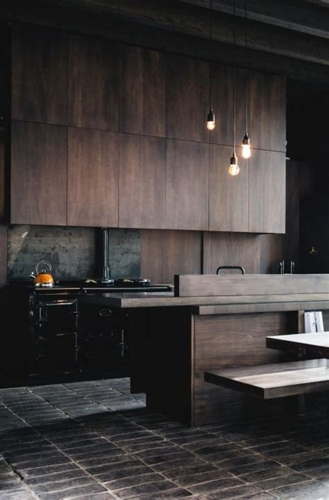 white and dark wood kitchen 15 trendy looking modern wood kitchens shelterness 656 | 13 a dark and moody modern kitchen with dark colored wood cabinets and black appliances
