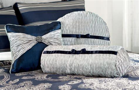 midnight blue silver joy bedding accent toss pillow set