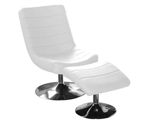 hemsby white faux leather swivel chair and footstool