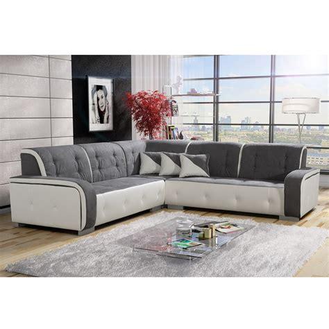 canap d montable canapé d 39 angle réversible tissu gris et pvc blanc jamaïca