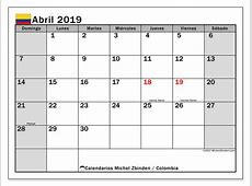 Calendario abril 2019, Colombia Michel Zbinden es