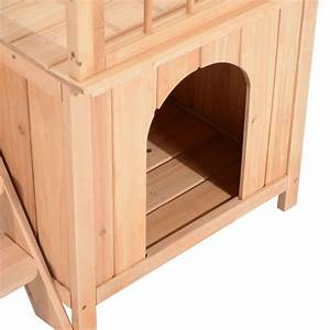 wooden pet house cat dog bed 2 story window lookout With two story dog bed