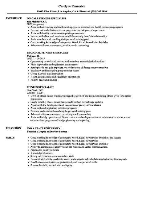 Fitness Resume by Fitness Specialist Resume Sles Velvet