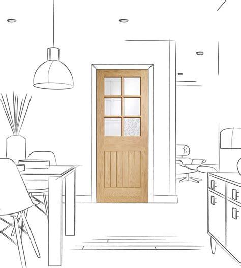 pre finished suffolk oak internal door  clear glass