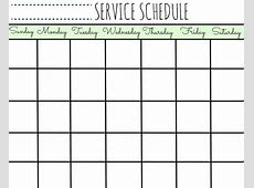 Service Schedule Calendar Printable First Home Love Life